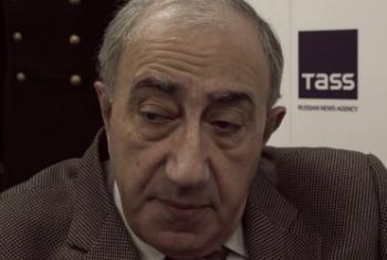Давид Иоселиани. Кадр видеосъемки Информцентра ООН в Москве