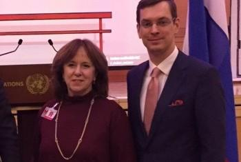 Наталья Поппель и Владимир Залужский в ООН. Фото Службы новостей ООН