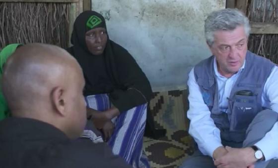 Kamishina mkuu wa shirika la Umoja wa Mataifa la kuhudumia wakimbizi UNHCR bwana Filipo Grandi ziarani Kenya. Picha: UNHCR/Video capture