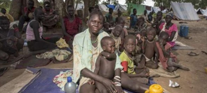 Wakimbizi waSudan Kusini wanoishi katika makazi ya muda wakisubiri mahema kutoka UNHCR.Ethipoia inawahifadhi zaidi ya wakimbizi 600,000.Picha© UNHCR/P.Wiggers