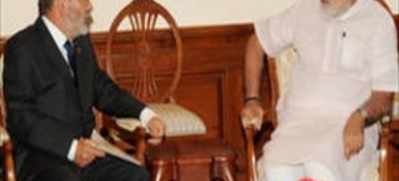 Mkurugenzi Mkuu wa FAO osé Graziano da Silva (kushoto) na Waziri Mkuu wa India Narendra Modi wakati wa mazungumzo yako huko New Delhi. (Picha@FAO)