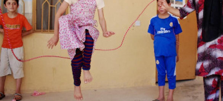 watoto wakicheza kwenye kambi za wakimbizi nchini Iraq. Picha ya UNICEF Iraq