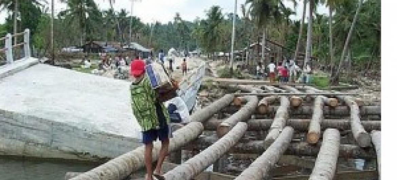 Mji wa Simeuleu nchini Indonesia, ambao tsunami ya mwaka 2005 uliuenganisha na maeneo mengine ambapo wananchi waliamua kutumia magogo ya mnazi kujenga daraja. (Picha:UN-HABITAT)