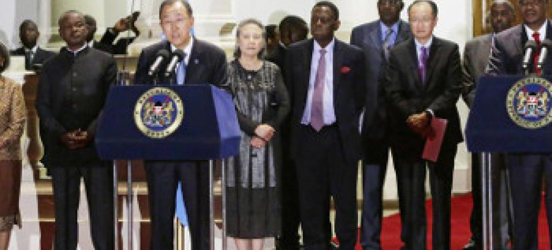 Katibu Mkuu Ban(kushoto) na Rais Uhuru Kenyatta(kulia) wa Kenya. Picha: