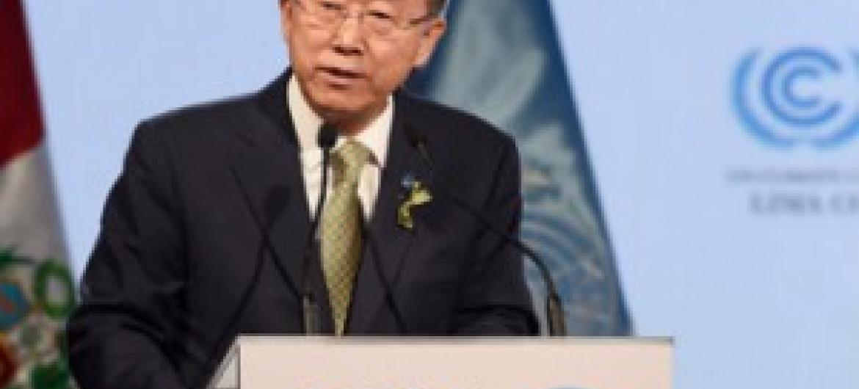 Katibu Mkuu wa UM alipohutubia COP20 wakati wa ufunguzi. (Picha:UN/Mark Garten)