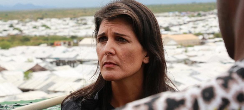 Mwakilishi wa kudumu wa Marekani kwenye Umoja wa Mataifa Balozi Nikki Haley ziarani nchini Sudan Kusini. Picha: UNMISS