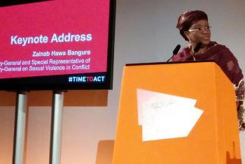 Zainab Bangura akihotubia kongamano la kimataifa kuhusu kutokomeza ukatili wa kingono katika vita @UNFPA