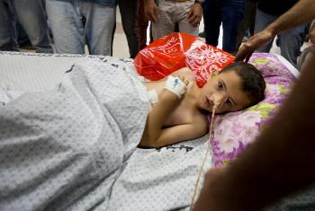 Mtoto aliyejeruhiwa, hospitalini, Gaza. Picha ya @UNICEF