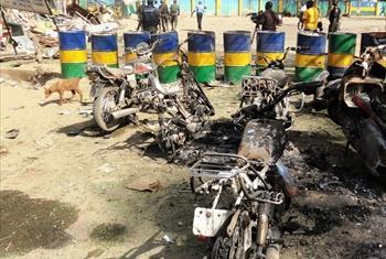 Uharibifu baada ya shambulizi na Boko Haram katika kituo cha polisi Kano, Nigeria.PIcha:IRIN/Aminu Abubakar(UM/News Centre/maktaba)