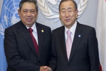 Katibu Mkuu wa UM Ban Ki-Moon na Rais Yudhoyono. (Picha:Maktaba UM-NICA)