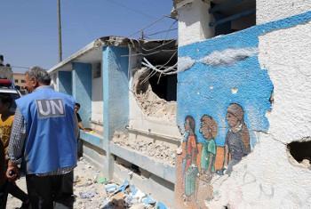 Shule ya Jabalia iliyopigwa na makombora awali wiki hii. Picha ya Shareef Sarhan UNRWA