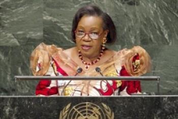 Rais wa serikali ya mpito huko CAR, Catherine Samba-Panza akihutubia Baraza Kuu. (Picha:UN/Cia Pak)