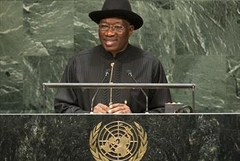 Rais Goodluck Jonathan wa Nigeria.Picha:UN/Cia Pak