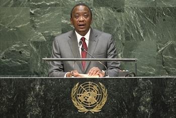 Rais Uhuru Kenyatta wa Kenya akihutubia mjadala mkuu wa Baraza Kuu la Umoja wa Mataifa. (Picha:UN/Cia Pak)