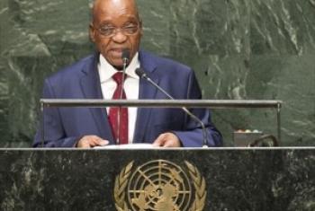 Rais Jacob Zuma wa Afrika Kusini akihutubia Baraza Kuu. (Picha: