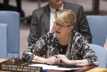 Mkuu wa UNMISS Bi. Ellen Margrethe Løj akihutubia Baraza la Usalama. (Picha:UN/Eskinder Debebe)