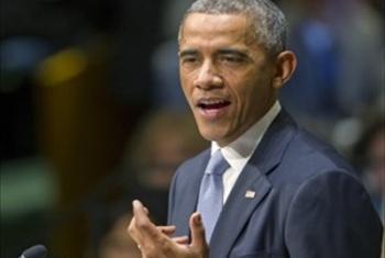 Rais Barack Obama wa Marekani akihutubia Baraza Kuu la Umoja wa Mataifa. (Picha:UN/Mark Garten)