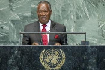 Hayati Rais Michael Sata alipohutubia Baraza Kuu la Umoja wa Mataifa tarehe 24 Septemba mwaka 2012. (Picha:UN/Rick Bajornas)