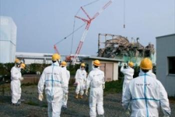 Wafanyakazi kwenye mtambo wa Fukushima. Picha@IAEA