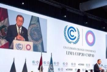 Katibu Mkuu wa UM Ban Ki-Moon akihutubia mkutano wa COP20 huko Lima,Peru. (Picha:UNFCCC)