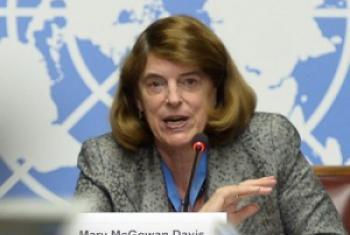 Mary McGowan Davis, mwenyekiti wa tume ya uchunguzi kuhusu vita vya Gaza vya 2014. Picha ya UN/ Jean-Marc Ferré