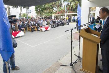 Katibu Mkuu Ban alipohutubia wafanyakazi wa UNRWA. Picha: (Picha:UN /Eskinder Debebe (MAKTABA)