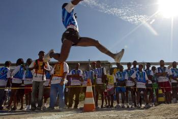 Hapa ni michezo mji mkuu wa Port-au-Prince nchini Haiti.(Picha:UM//Logan Abassi)