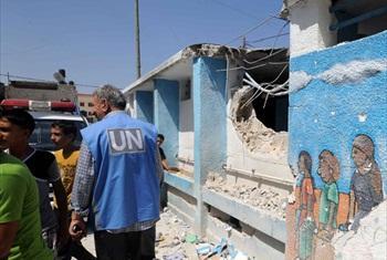 Shule ya Jabalia kwenye eneo la GAza, Palestina, ambayo imeshambuliwa na makombora(maktaba). UNRWA Archives/Shareef Sarhan