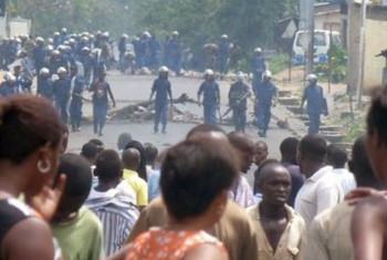Maandamano mjini Bujumbura mwezi Aprili 2015.