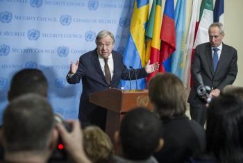 Katibu Mkuu wa Umoja wa Mataifa Antonio Guterres akizungumza na waandishi wa habari. (Picha:UN/Manuel Elias)