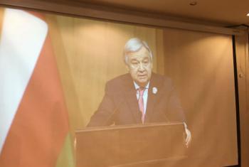 Katibu Mkuu wa Umoja wa Mataifa António Guterres akihutubia viongozi wa Umoja wa nchi za kiarabu huko Jordan. (Picha: UNSG Twitter)