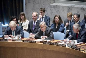 Katibu Mkuu wa Umoja wa Mataifa António Guterres akihutubia Baraza la Usalama. Picha: UM/Rick Bajornas