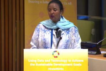 Waziri wa Kenya wa mambo ya nje, Amina Mohammed akihutubia mkutano kuhusu matumizi ya data na teknolojia katika kufanikisha SDGs. Picha: UM/Video capture