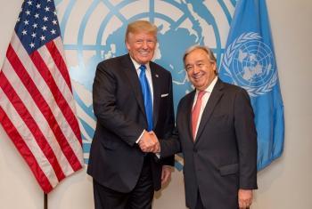 Katibu Mkuu wa Umoja wa Mataifa Antonio Guterres na Rais wa Marekani Dolnad Trump, kwenye Ikulu ya White House jijini Washington Marekani waliopokutana.(Picha:UM)