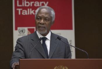 Katibu Mkuu mstaafu wa Umoja wa Mataifa Kofi Annan akizungumza kwenye mkutano wa uzinduzi wa ripoti ya kwanza kuhusu hali ya demokrasia ulimwenguni huko Geneva, Uswisi. Picha: UM/Video capture