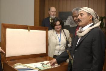 Rais wa zamani wa Yemen, Ali Abdullah Salehe kulia). Picha: UM/Mark Garten