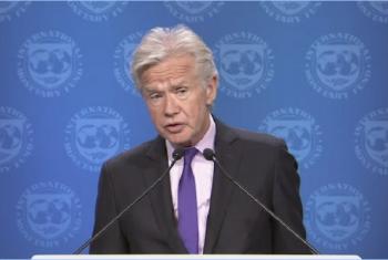 Msemaji wa IMF Gerry Rice akizungumza na waandishi wa habari huko Washington DC nchini Marekani. Picha: UM/Video capture