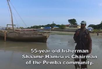 Shaame Hamisi, Mvuvi mwenye umri wa miaka 55 ni mwenyekiti wa Wapemba waliohamia Kenya. Picha: UNHCR/Video capture