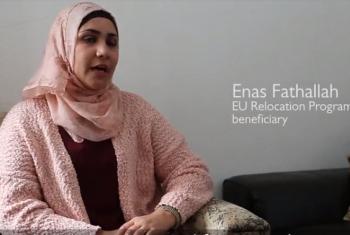 Enas Fathallah na familia yake kutoka Syria ambao sasa wanaishi Ureno. Picha: IOM/Video capture