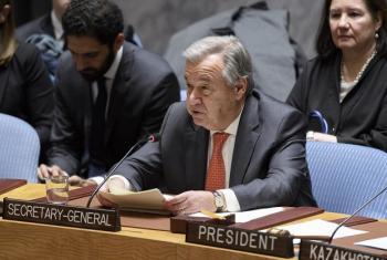 Katibu Mkuu wa Umoja wa Mataifa António Guterres akihutubia mkutano wa Baraza la Usalama kuhusu Afghanistan. PichaUM/Manuel Elias