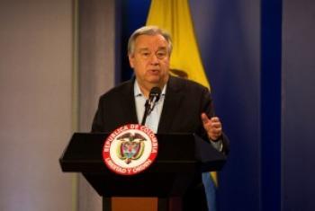 katibu mkuu Antonio Guterres akihutubia kwenye mkutano wa waandishi wa habari katika ikulu nchini Colombia