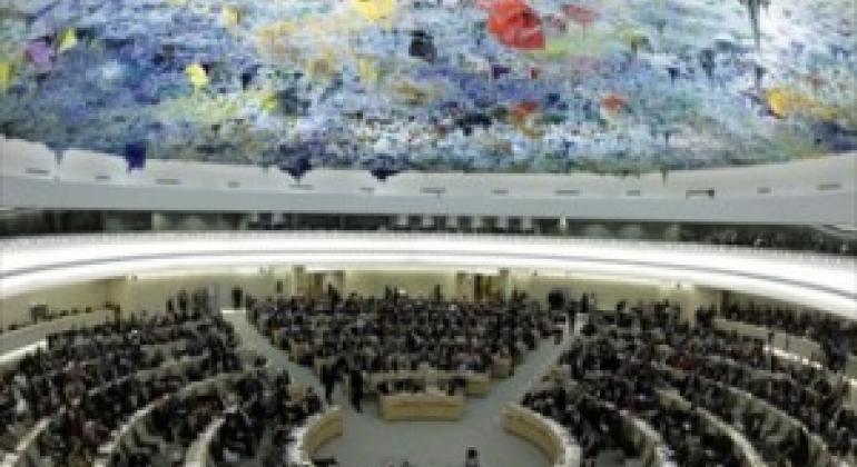 位于日内瓦的人权理事会会议厅。联合国图片