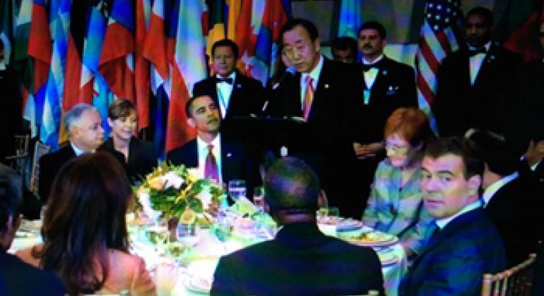 2009年各国领导人在联合国纽约总部代表餐厅共进午餐。