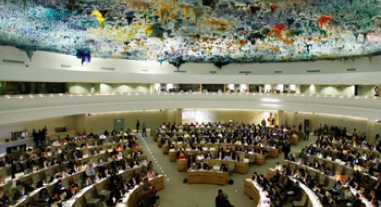 位于日内瓦的人权理事会会议厅。