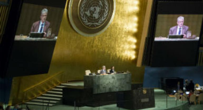 联大11月6日就国际刑事法院的工作进行辩论。联合国图片/Rick Bajornas