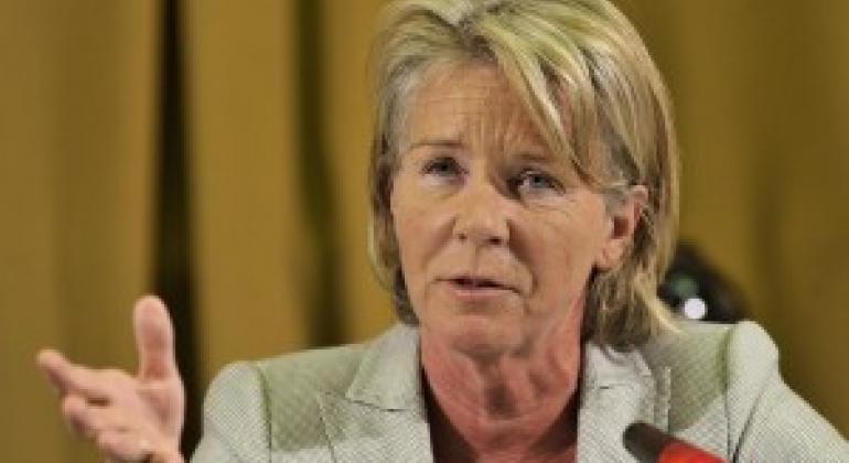 联合国人权理事会任命的买卖儿童、儿童卖淫和儿童色情制品问题特别报告员莫德·德·布尔-布基契奥(Maud de Boer-Buquicchio)资料图片。联合国图片/ Jean-Marc Ferre