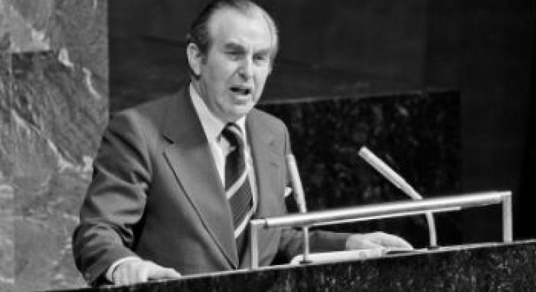 1975年赫尔佐格在联大讲话资料图片。
