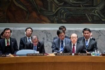 图为陈伟雄参加安理会公开会议。图片提供: 中国常驻联合国代表团