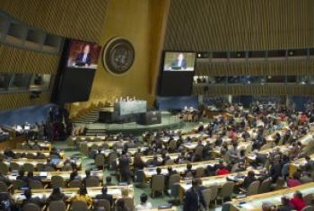 联大艾滋病问题高级别会议现场。联合国图片/Rick Bajornas