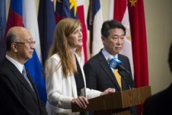 美国、日本和韩国常驻联合国代表在安理会通过制裁朝鲜新决议后对媒体发言 联合国图片